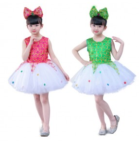 Girls princess ballet jazz modern dance dress costumes kids sequin flower girls host stage show performance dress costumes